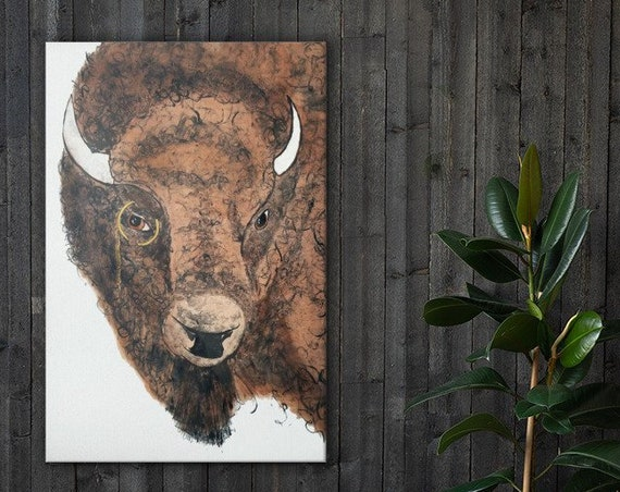 Buffalo wearing a Monocle - Canvas Reproduction of MonoPrint - Bison