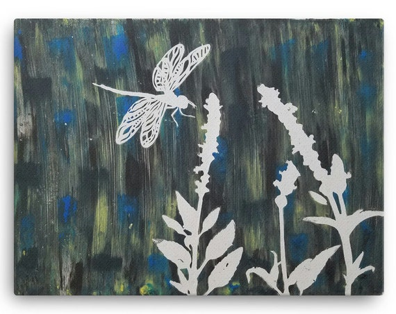 Dragon Fly Monotype Print Reproduction - Canvas Reproduction