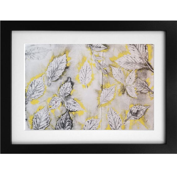 Yellow Leaf Burst Monotype Print 1/1 Jessica Chapman
