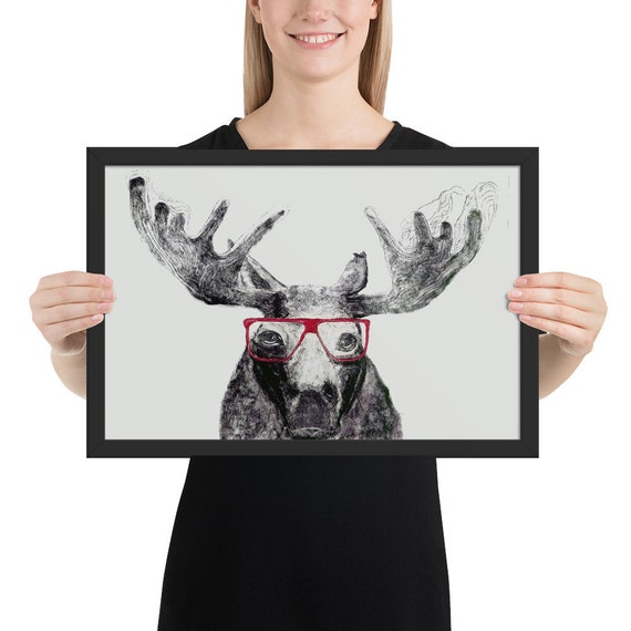 Moose in Glasses - Framed Poster Reproduction - Ready to Hang