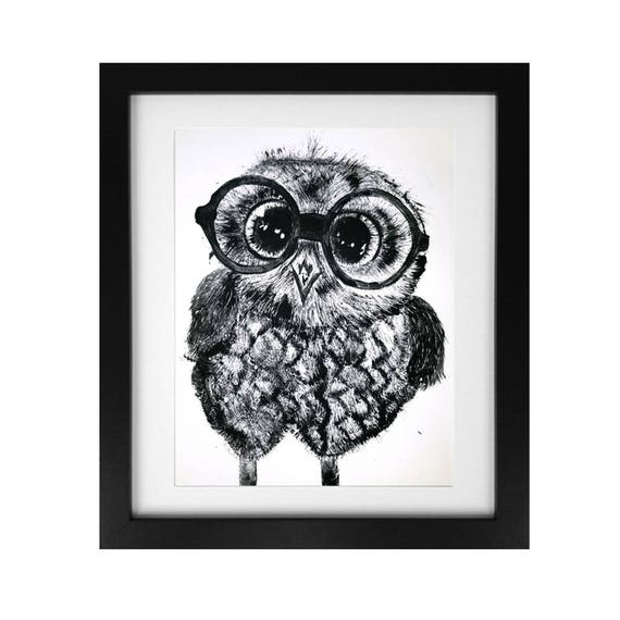 Owl in Glasses Monotype Print Image 12 x 16 - Original
