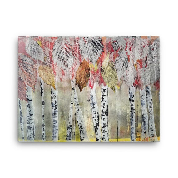 Birch Trees and Fall Leaves - Digital Print