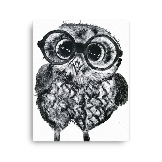 Baby Owl in Glasses - Canvas Reproduction