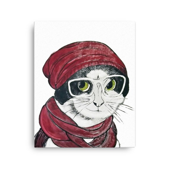 Hipster Cat in Hat and Glasses - Stretched Canvas Reproduction of Original Monotype Print