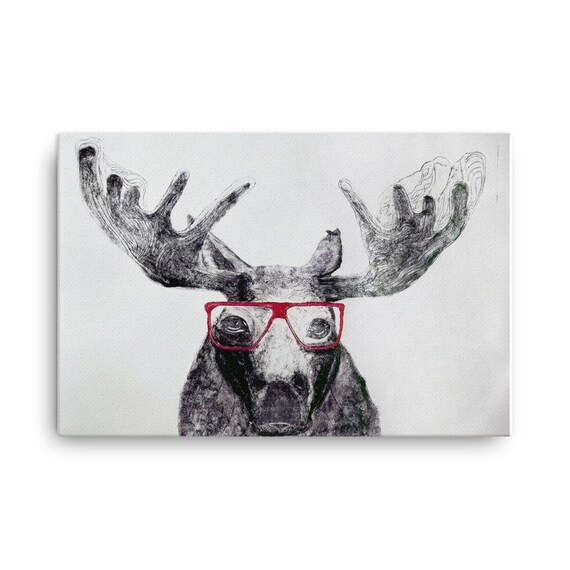 Moose in Glasses - Stretched Canvas Reproduction - Ready to Hang - unframed