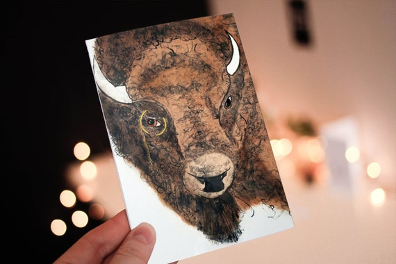 "Bison (Buffalo) In Monocle - 5"" x 7"" greeting card - Blank Inside - Customization"