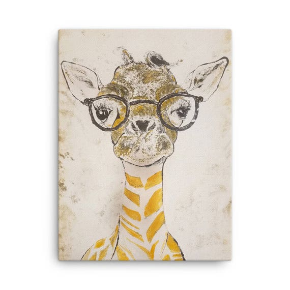 Baby Giraffe in Glasses - Reproduction On Canvas - Many Sizes available. Ready to Hang Home Decor