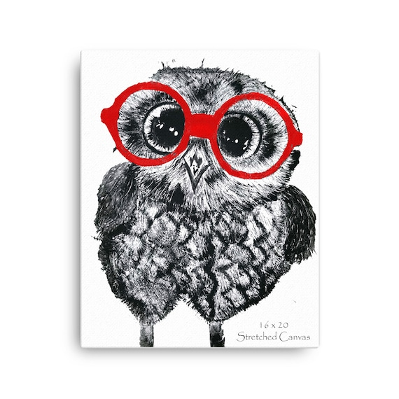 Baby Owl in Red Glasses Stretched Canvas Reproduction