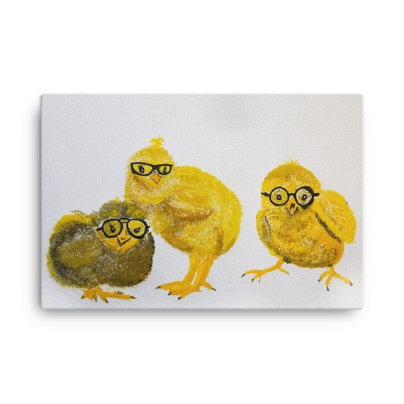 Chicks in Glasses Canvas Reproduction - Hipster Chicks