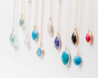 Lariat Necklace Sterling Silver Y necklace Gemstone necklace Dainty Necklace Evil Eye Necklace Layering Necklace Turquoise Necklace for her
