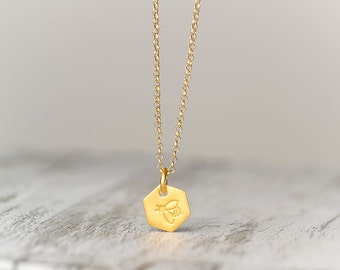Personalized Hexagon Necklace Tiny Gold Beehive Necklace Initial Pendant Layering necklace custom pendant bridesmaid gift personalized gift