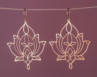 Large Lotus Mandala Earrings Chandelier Yoga mom Sterling Silver Statement dangle Flower Bohemian  gift Womens Filigree earring sale