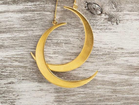 Crescent moon earringsHorn earringsHalf Moon EarringsGold crescent moon earringsBoho earringsGift for her