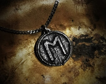 Viking jewelry Ehwaz jewelry Celtic pagan jewelry Forged Ehwaz necklace Hammered copper viking jewelry Runic necklace Viking necklace