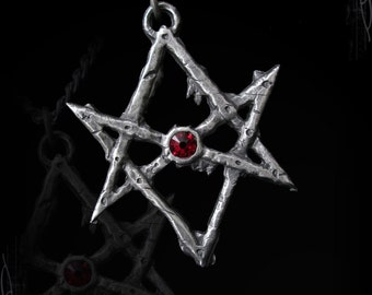 Unicursal Hexagram necklace of Thelema with swarovski of your choice, Aleister Crowley's Hexagram