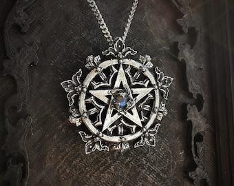 Handmade gothic pentagram necklace with antique finish, The Demetria 2