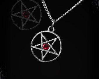 Handmade inverted pentagram with gem of you choice, satanic pentagram, availlable not inverted on request