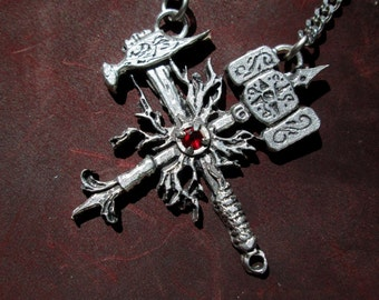 Handmade dwarven pendant, the forge, The builder and the figher
