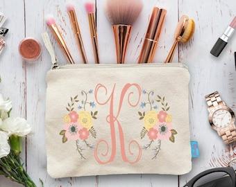 Initial Make Up Bag, Floral Cosmetic Bag, Initial Cosmetic Bag, Custom Cosmetic Bags, Personalised Makeup Bag Bridesmaid, Makeup Pouch