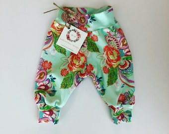 Baby Girl Clothes, Paisley Cuff Pants, Baby Clothes, Baby Pants