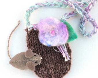 Take Along Enchanted Mousie - Hand Stitched - Wool Play Set - Knitted Pouch Necklace