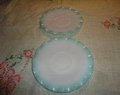 Vintage Set Of 2 Hazel Atlas Crinoline Turquoise and White Ruffle Saucers
