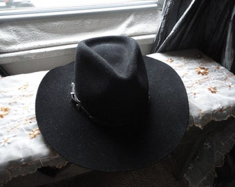aed8c25a5314a8 Black Stetson Pony Express Cowboy Hat Size 7 Pure Wool