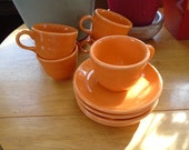 Fiestaware Tangerine Orange Homer Laughlin China Company Cups and Saucers 10 Piece Set