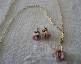 Vintage Jewelry Set Porcelain Clay Flower Ladies Teen Birthday Gift