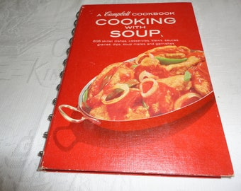 Vintage 1960s A Campbell Cookbook Cooking With Soup Spiral Red Bound Hard Cover