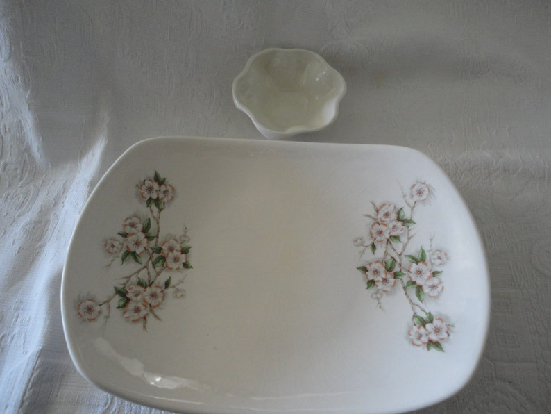 Apple Blossom Porcelain Serving Tray Serving Platter Snack Tray Porcelain White Dip Bowl Removable Bowl