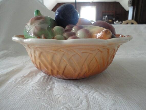 Vintage fruits en porcelaine panier à couvercle bol décoratif d'été