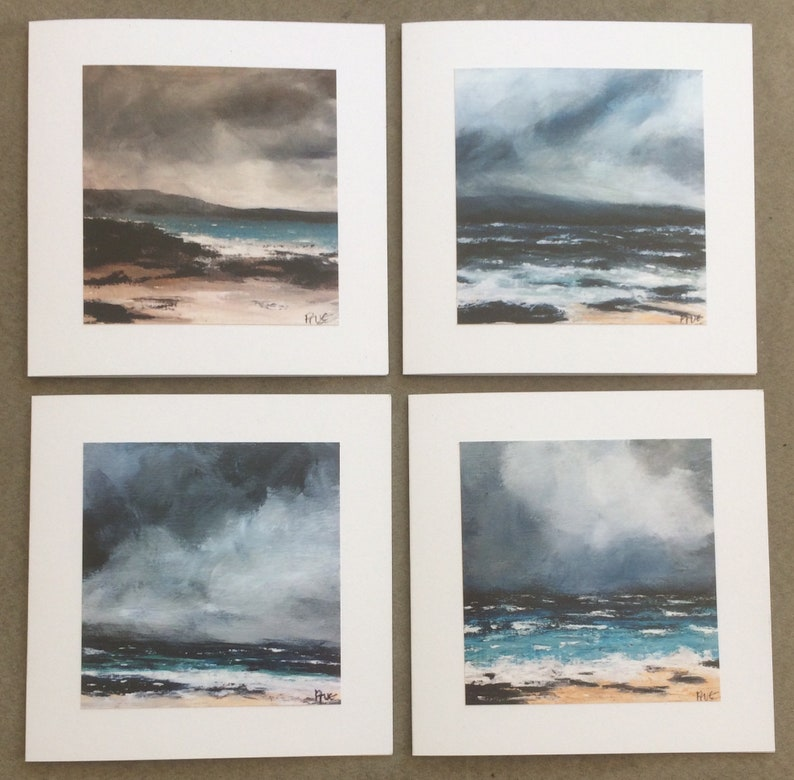 Pack of 4 Greetings Cards Created From My Paintings of Stormy Seas
