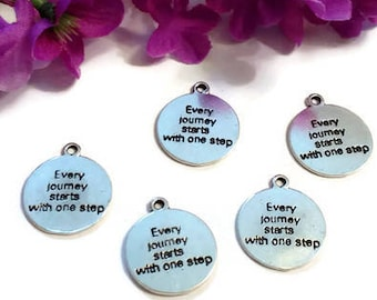 5 Pc Every Journey Starts With One Step Pendant Charms - Inspirational One Step At A Time ODAAT 12 Step Recovery