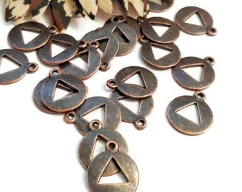 20 Pc Copper AA Inspired Pendant Charms - Alcoholics Anonymous
