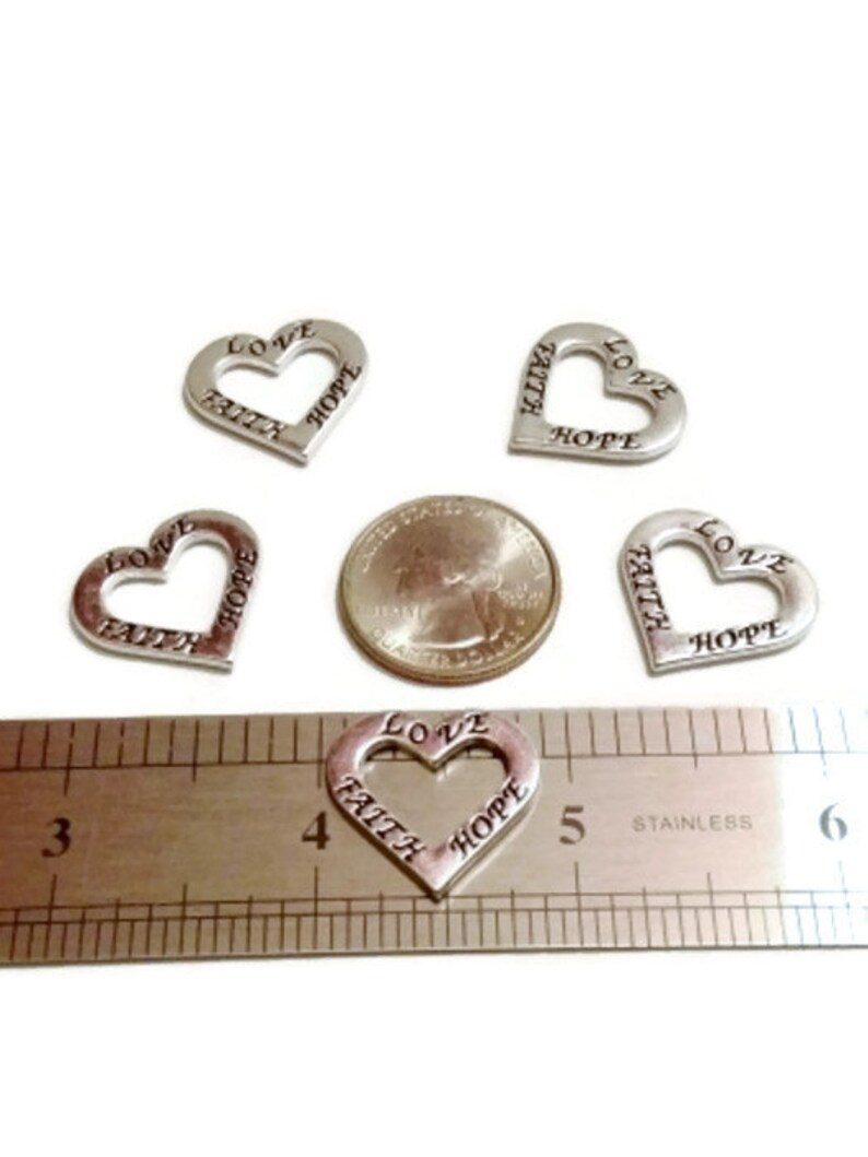 10 Pcs \u2018Faith Love Hope\u2019 Open Heart Pendant Charm Connectors