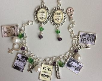 Vintage Votes For Women/ Suffragette Charm Bracelet Set Handmade, Unique