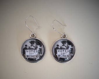 Votes for Women Vintage Suffragette Pic Earrings- Handmade Unique (FREE or LOW COST shipping)