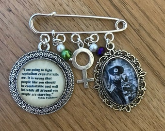 FREE SHIPPING WORLDWIDE Unique Handmade Sylvia Pankhurst Pendant Necklace in Swallow Frame