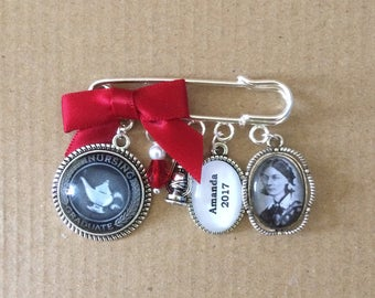 Vintage PERSONALISED Florence Nightingale/ Nursing Graduate Pinning Ceremony Pin/Brooch. Handmade, Unique