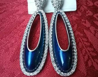 Lia Sophia Blue Bling Crystal Rhinestone Stud Earrings