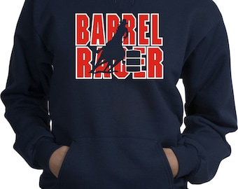 Barrel Racer Horse and Rider Navy Blue Hooded Sweatshirt