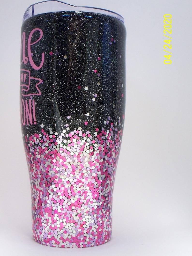 tumbler Breast cancer survivor 30 oz pink glitter