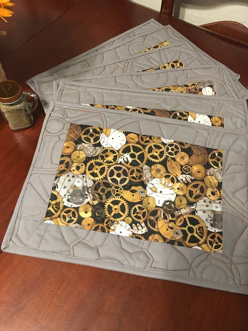 Gift for Her,Quilt Set of 6 Placemats Steampunk Placemat Mother/'s Day Gift Placemats Patchwork Quilt Housewarming Gift Farmhouse Deco