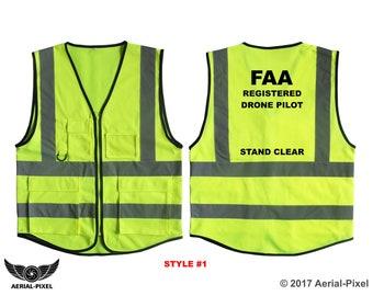 5 Pocket Hi-Visibility Safety Vest for FAA Registered Drone Pilots