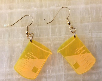 Chemistry Earrings 6 Florescent Yellow
