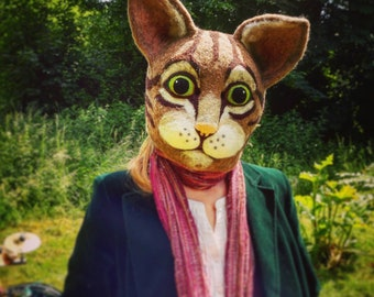 Cat Mask Needle felted wool fur furry LARP fancy dress cosplay pagan costume furry  wool realistic giant cat mask theatre performance