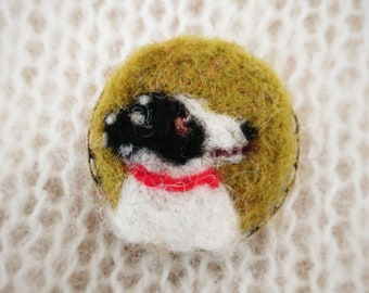 Needle felted dog cameo portrait brooch miniature needle felt collie, labrador, spaniel, dalmation, mongrel etc Custom made  pin badge