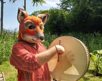 Fox Mask Needle felted wool fur furry LARP fancy dress cosplay pagan costume furry  wool realistic giant fox mask theatre performance
