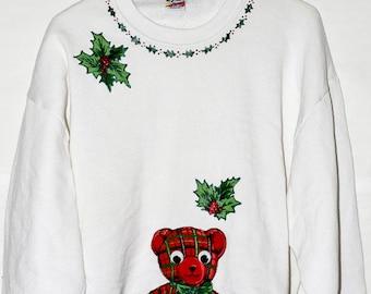 Baby Bugs Bunny Weihnachten Pullover 1993 Jahrgang Looney Tunes hässlich Sweatshirt Warner Bros Glitter Xmas kitschig Kleidung Cartoon SZ L